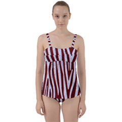Skin4 White Marble & Red Wood (r) Twist Front Tankini Set