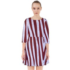 Skin4 White Marble & Red Wood Smock Dress