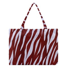 Skin3 White Marble & Red Wood Medium Tote Bag by trendistuff