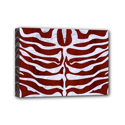 Skin2 White Marble & Red Wood Mini Canvas 7  X 5  by trendistuff