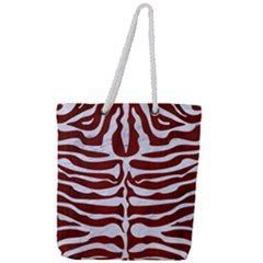 Skin2 White Marble & Red Wood Full Print Rope Handle Tote (large)