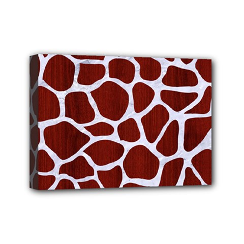 Skin1 White Marble & Red Wood (r) Mini Canvas 7  X 5  by trendistuff