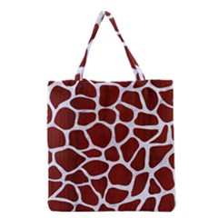 Skin1 White Marble & Red Wood (r) Grocery Tote Bag by trendistuff
