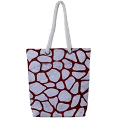 Skin1 White Marble & Red Wood Full Print Rope Handle Tote (small) by trendistuff