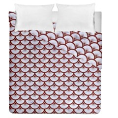 Scales3 White Marble & Red Wood (r) Duvet Cover Double Side (queen Size) by trendistuff