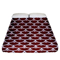 Scales3 White Marble & Red Wood Fitted Sheet (queen Size) by trendistuff