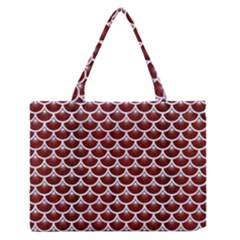 Scales3 White Marble & Red Wood Zipper Medium Tote Bag by trendistuff