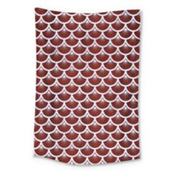 Scales3 White Marble & Red Wood Large Tapestry by trendistuff