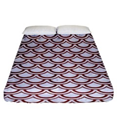 Scales2 White Marble & Red Wood (r)scales2 White Marble & Red Wood (r) Fitted Sheet (king Size) by trendistuff