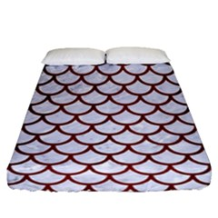 Scales1 White Marble & Red Wood (r) Fitted Sheet (queen Size) by trendistuff