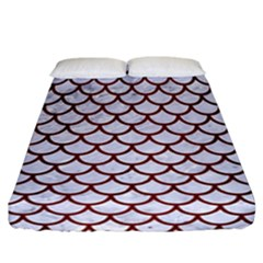 Scales1 White Marble & Red Wood (r) Fitted Sheet (california King Size) by trendistuff