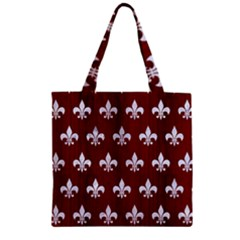 Royal1 White Marble & Red Wood (r) Zipper Grocery Tote Bag by trendistuff