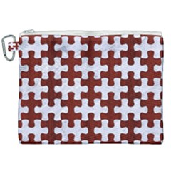 Puzzle1 White Marble & Red Wood Canvas Cosmetic Bag (xxl) by trendistuff