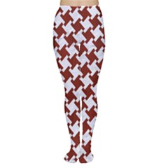 Houndstooth2 White Marble & Red Wood Women s Tights by trendistuff