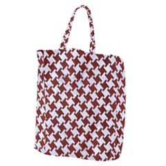 Houndstooth2 White Marble & Red Wood Giant Grocery Zipper Tote by trendistuff