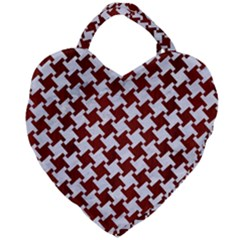 Houndstooth2 White Marble & Red Wood Giant Heart Shaped Tote