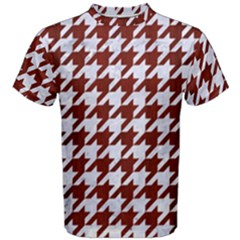 Houndstooth1 White Marble & Red Wood Men s Cotton Tee by trendistuff