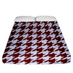 Houndstooth1 White Marble & Red Wood Fitted Sheet (california King Size) by trendistuff