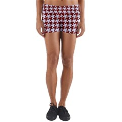 Houndstooth1 White Marble & Red Wood Yoga Shorts