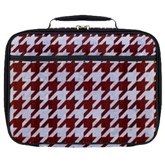 Houndstooth1 White Marble & Red Wood Full Print Lunch Bag by trendistuff