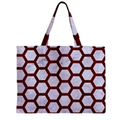 Hexagon2 White Marble & Red Wood (r) Zipper Mini Tote Bag by trendistuff
