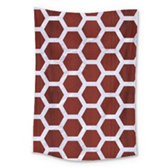 Hexagon2 White Marble & Red Wood Large Tapestry by trendistuff