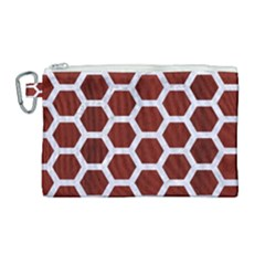 Hexagon2 White Marble & Red Wood Canvas Cosmetic Bag (large) by trendistuff
