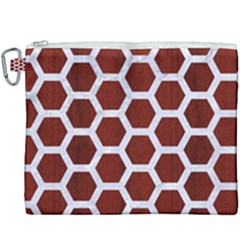 Hexagon2 White Marble & Red Wood Canvas Cosmetic Bag (xxxl) by trendistuff
