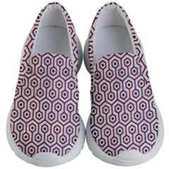 Hexagon1 White Marble & Red Wood (r) Kid s Lightweight Slip Ons by trendistuff