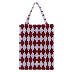Diamond1 White Marble & Red Wood Classic Tote Bag by trendistuff