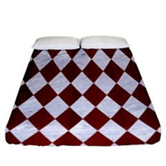 Diamond1 White Marble & Red Wood Fitted Sheet (king Size) by trendistuff