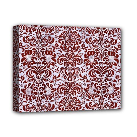 Damask2 White Marble & Red Wood (r) Deluxe Canvas 14  X 11  by trendistuff