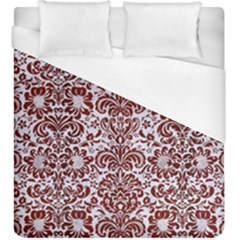 Damask2 White Marble & Red Wood (r) Duvet Cover (king Size) by trendistuff