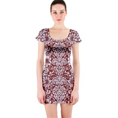 Damask2 White Marble & Red Wood Short Sleeve Bodycon Dress by trendistuff