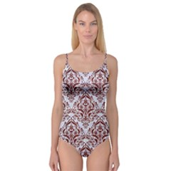 Damask1 White Marble & Red Wood (r) Camisole Leotard  by trendistuff