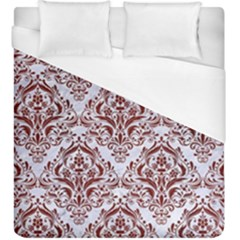 Damask1 White Marble & Red Wood (r) Duvet Cover (king Size) by trendistuff