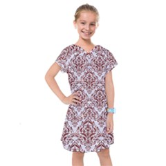 Damask1 White Marble & Red Wood (r) Kids  Drop Waist Dress