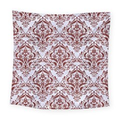 Damask1 White Marble & Red Wood (r) Square Tapestry (large) by trendistuff