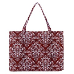 Damask1 White Marble & Red Wood Zipper Medium Tote Bag by trendistuff