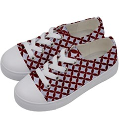 Circles3 White Marble & Red Wood (r) Kids  Low Top Canvas Sneakers by trendistuff