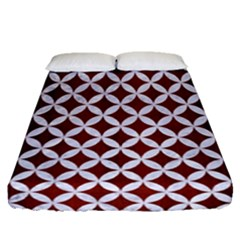 Circles3 White Marble & Red Wood Fitted Sheet (queen Size) by trendistuff