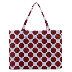 Circles2 White Marble & Red Wood (r) Zipper Medium Tote Bag by trendistuff