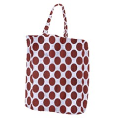 Circles2 White Marble & Red Wood (r) Giant Grocery Zipper Tote by trendistuff