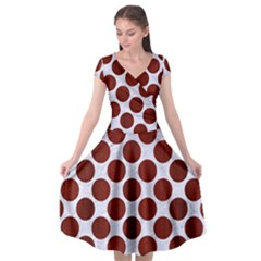 Circles2 White Marble & Red Wood (r) Cap Sleeve Wrap Front Dress