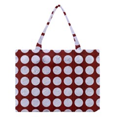 Circles1 White Marble & Red Wood Medium Tote Bag by trendistuff