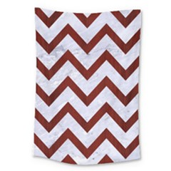 Chevron9 White Marble & Red Wood (r) Large Tapestry by trendistuff