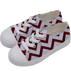 Chevron9 White Marble & Red Wood (r) Kids  Low Top Canvas Sneakers by trendistuff