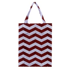 Chevron3 White Marble & Red Wood Classic Tote Bag by trendistuff