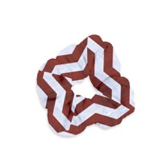 Chevron3 White Marble & Red Wood Velvet Scrunchie