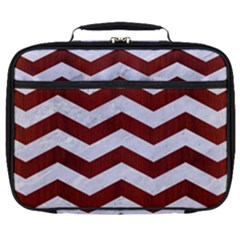 Chevron3 White Marble & Red Wood Full Print Lunch Bag